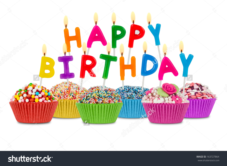 Row of cupcakes clipart stock Row Cupcakes Happy Birthday Lettering Stock Photo 163727864 ... stock