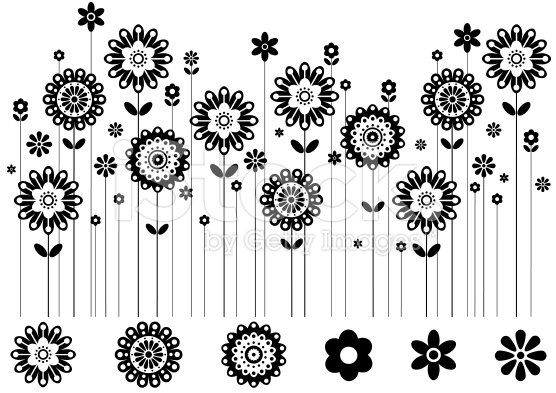 Row of flowers clipart vector library download Black and white row of flowers clipart - ClipartFest vector library download