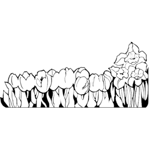Row of flowers clipart vector free library Black and white row of flowers clipart - ClipartFest vector free library