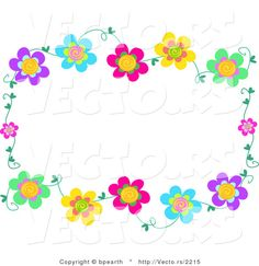 Row of flowers clipart image download Double rows of flowers in a full frame border clip art or ... image download