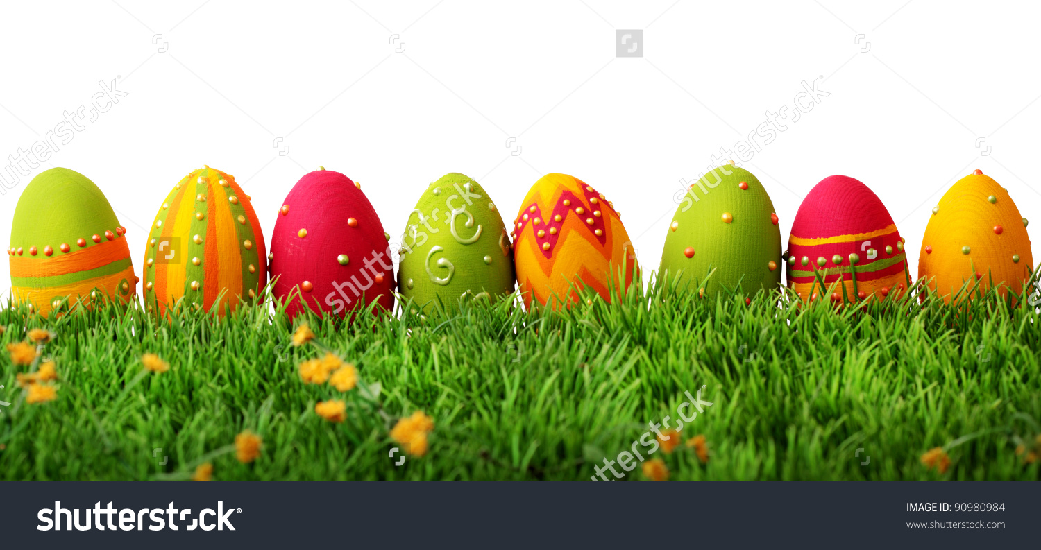 Row of grass clipart graphic royalty free library Colorful Easter Eggs Row On Green Stock Photo 90980984 - Shutterstock graphic royalty free library