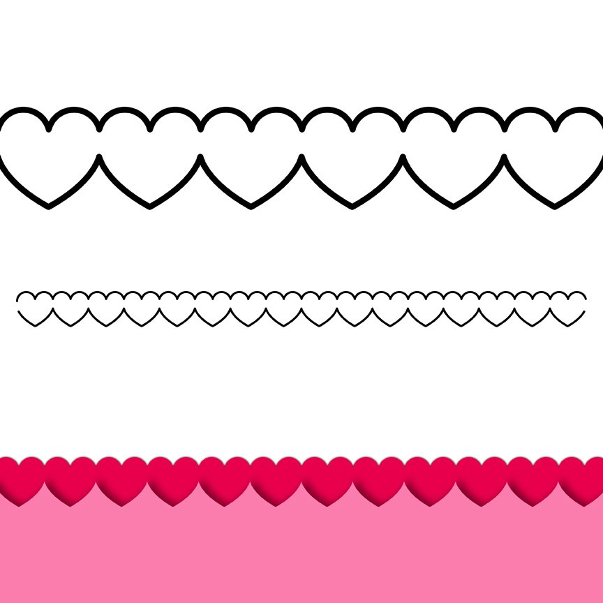 Row of hearts clip art clipart black and white Line Of Hearts Clip Art - ClipArt Best clipart black and white