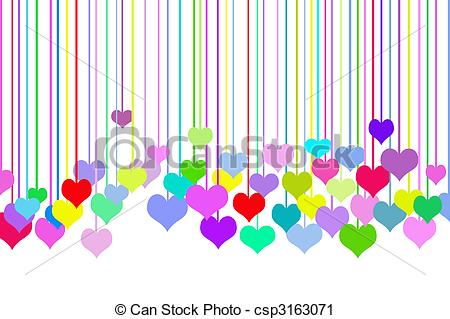 Row of hearts clip art clipart black and white Clipart of Row Of Hearts - Colorful hearts on white background ... clipart black and white