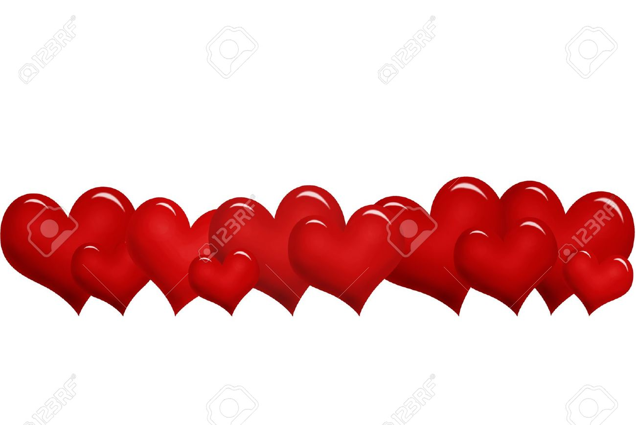 Row of hearts clip art png freeuse download Valentine`s Border With Red Hearts In A Row Stock Photo, Picture ... png freeuse download