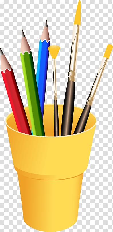 Row of paint brushes different colors transparent background clipart free download Three pencils in yellow container illustration, Drawing ... free download