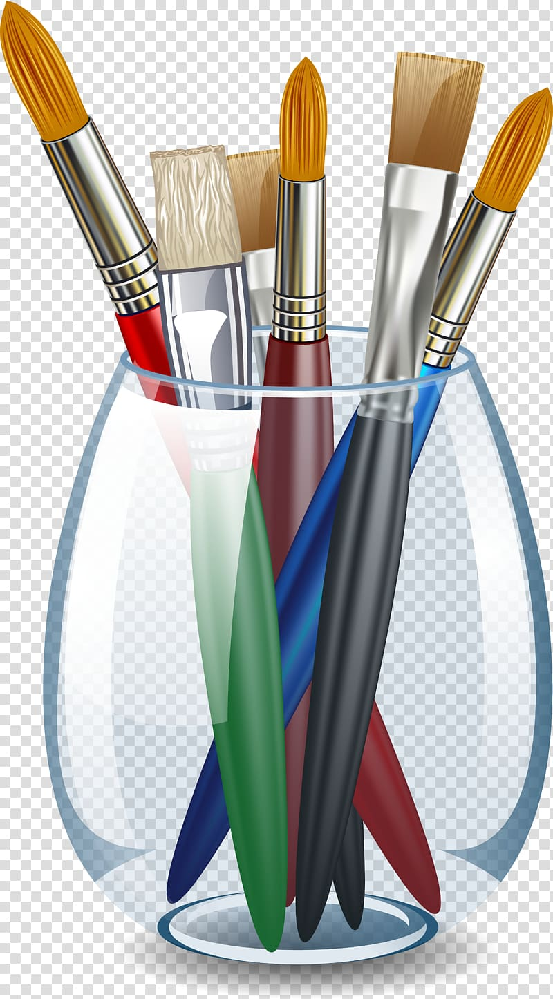 Row of paint brushes different colors transparent background clipart svg black and white library Palette Pencil Paintbrush Painting, pencil transparent ... svg black and white library