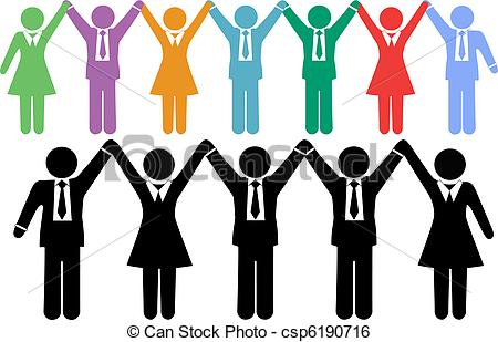 Row of people clipart banner black and white download Clip Art Vector of Business people symbols holding hands celebrate ... banner black and white download