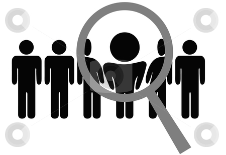 Row of people clipart graphic royalty free download Magnifying Glass Chooses Inspects Man in Row of People stock vector graphic royalty free download