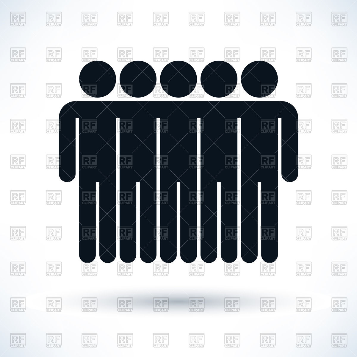 Row of people clipart picture royalty free Unity team - row of people, simple pictogram Vector Image #48467 ... picture royalty free
