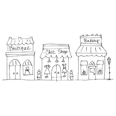 Row of shops clipart