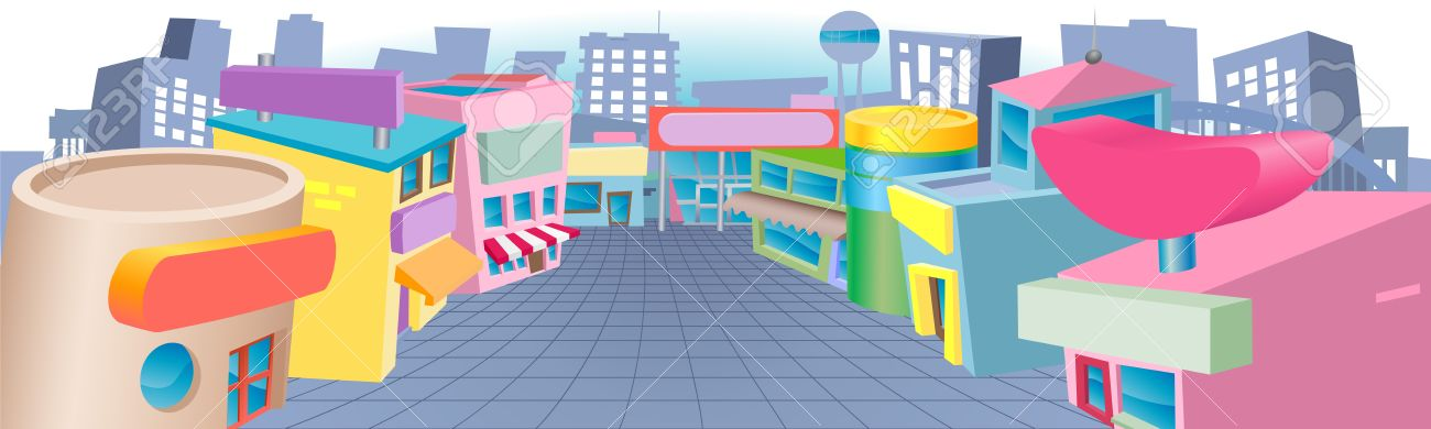 Row of shops clipart clip art download A Colourful Cartoon Street Of Shops With Blank Signs Royalty Free ... clip art download