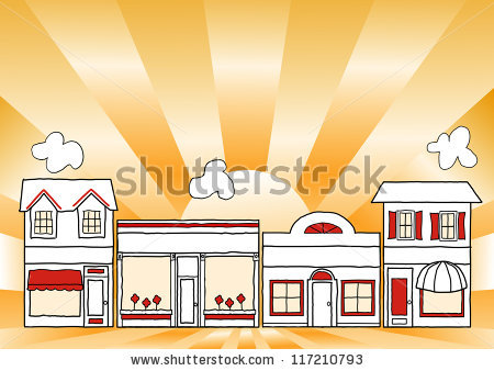 Row of shops clipart banner transparent Small Business Main Street Row Small Stock Illustration 117210790 ... banner transparent