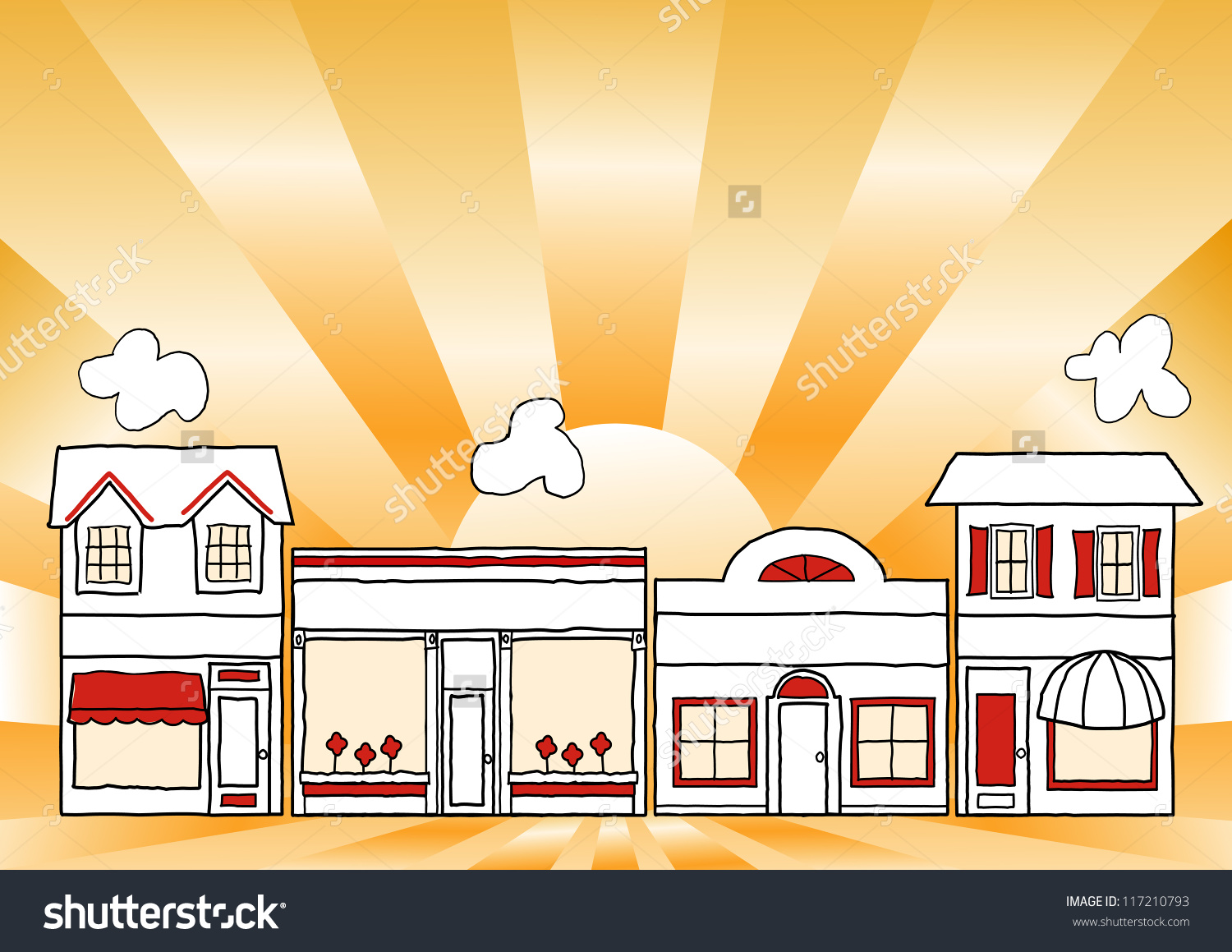 Row of shops clipart image stock Small Business Main Street Row Small Stock Illustration 117210793 ... image stock