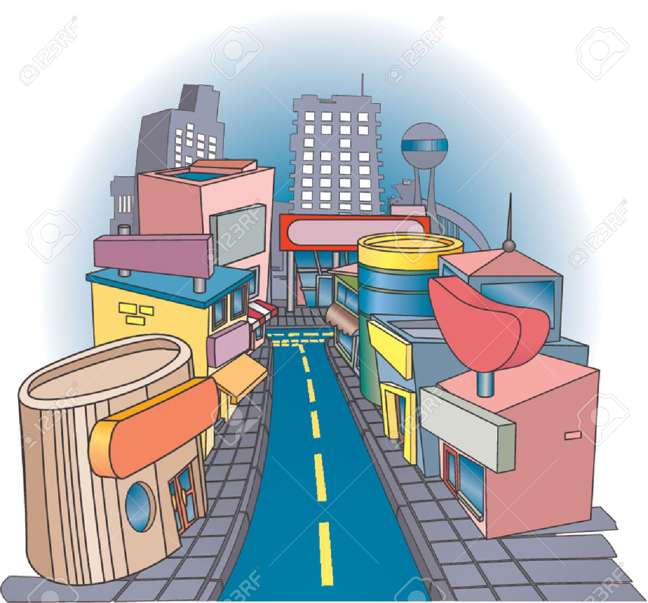 Row of shops clipart banner royalty free library Shopping Street. A Commercial Street With Some Very Funky Looking ... banner royalty free library