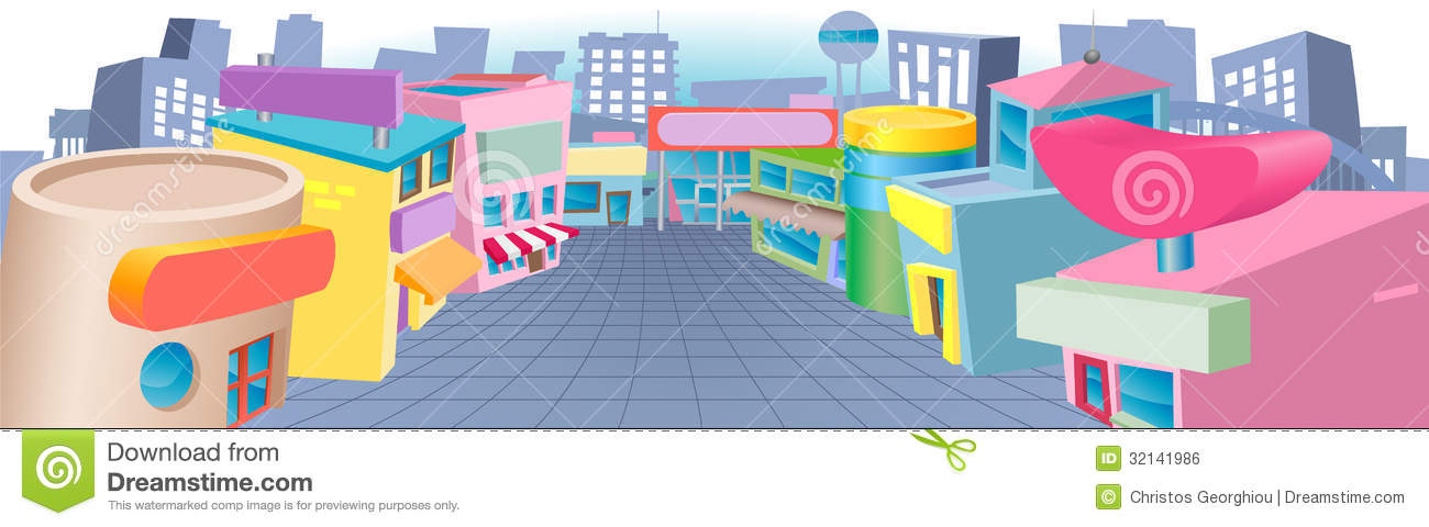 Row of shops clipart vector freeuse stock Cartoon Street Of Shops Royalty Free Stock Image - Image: 32141986 vector freeuse stock