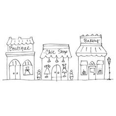 Row of shops clipart jpg black and white Boutique Buildings: Ice Cream Shop - Hand drawn clipart for sale ... jpg black and white