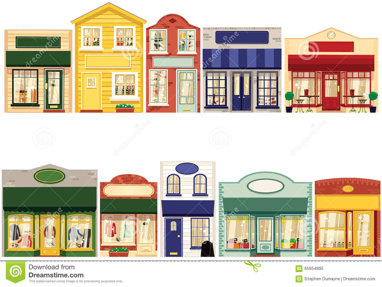 Row of shops clipart image library Row Of Shops Stock Vector - Image: 65654895 image library