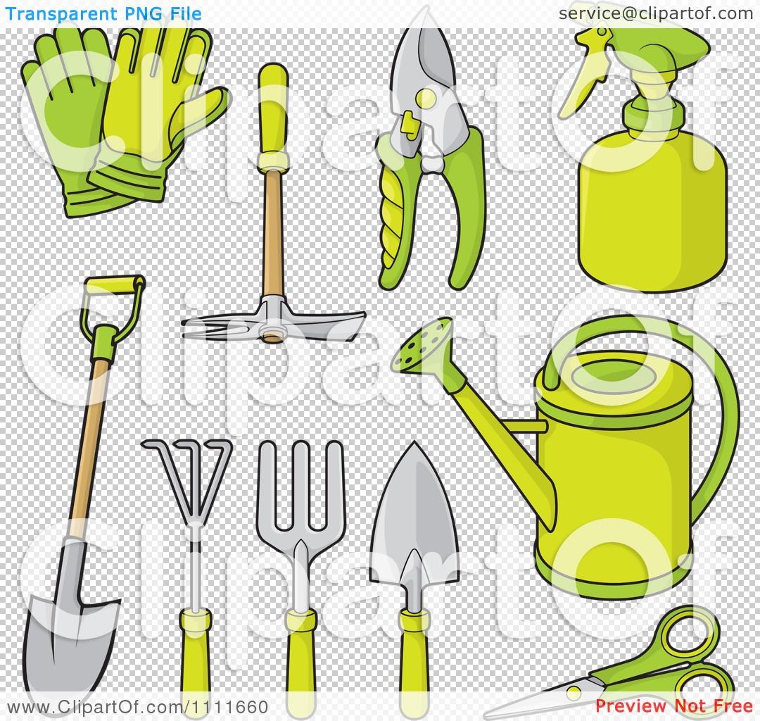 Row of tools clipart jpg stock Clipart Green Gardening Tools - Royalty Free Vector Illustration ... jpg stock