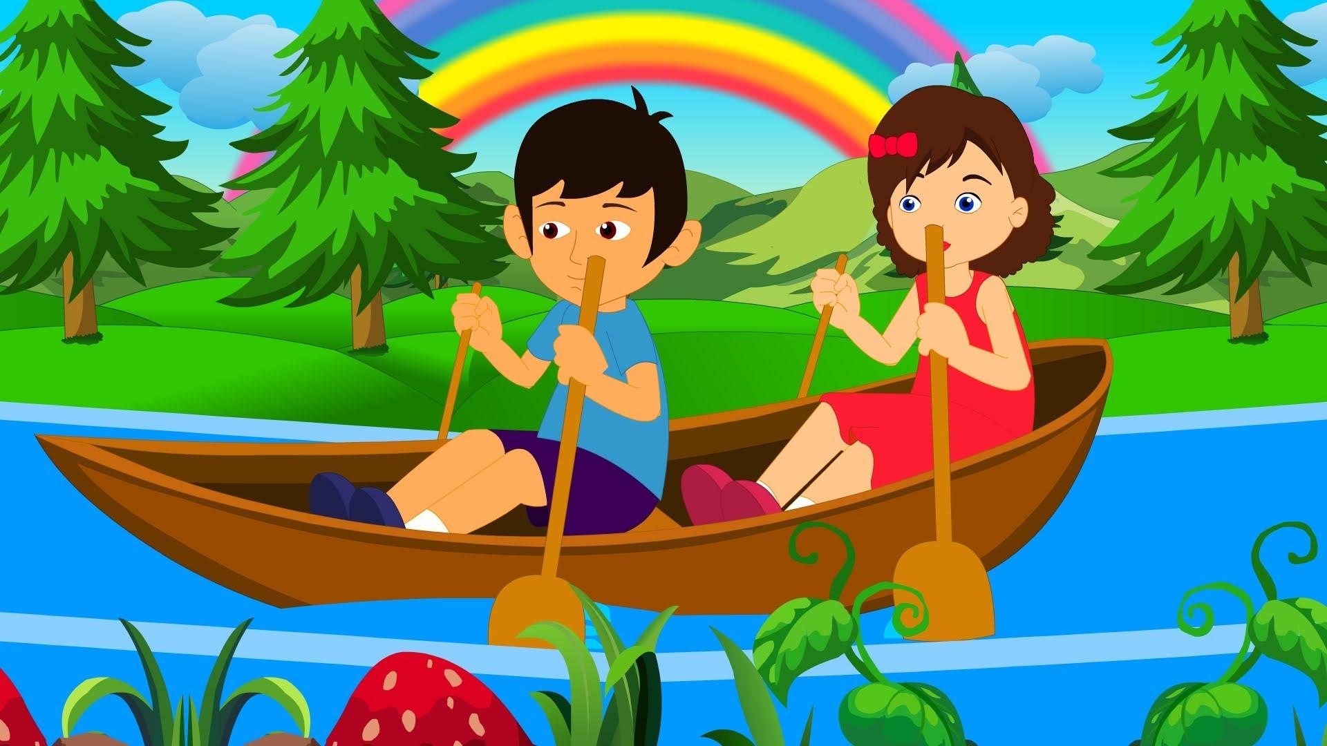 Row row row your boat clipart vector free stock Row Row Row Your Boat | English Nursery Rhyme With Lyrics - YouTube vector free stock