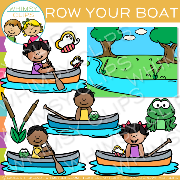 Row your boat clipart clipart black and white Row, Row, Row Your Boat Nursery Rhyme Clip Art , Images ... clipart black and white
