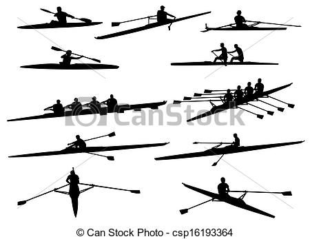 Rowing shell clipart svg freeuse Vector - rowing silhouettes - stock illustration, royalty ... svg freeuse