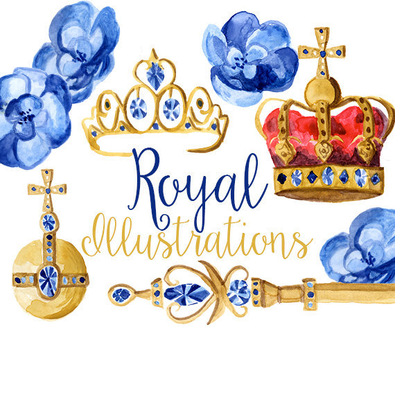 Royal blue king crown and sceptor clipart banner transparent library Royal Illustrations Watercolor Crowns Crown Clip Art Orb banner transparent library