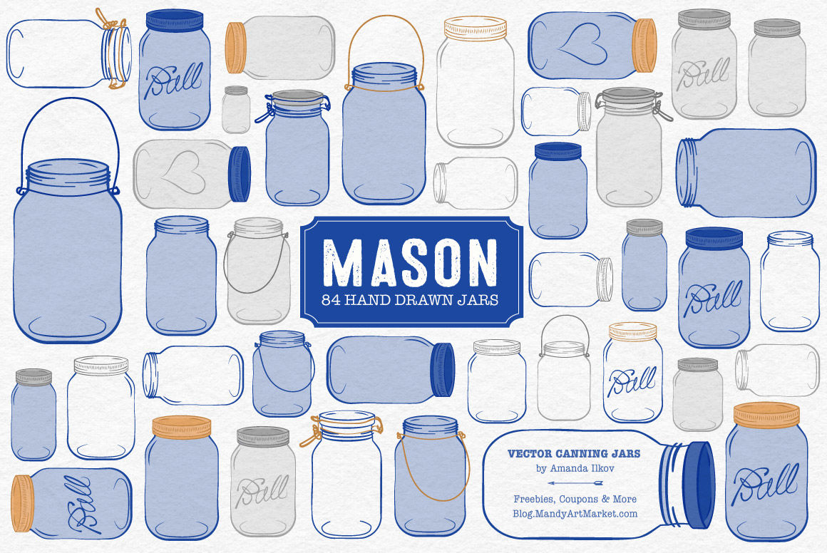 Royal blue waterbottle clipart jpg black and white download Vector Mason Jars Clipart in Royal Blue By Amanda Ilkov ... jpg black and white download