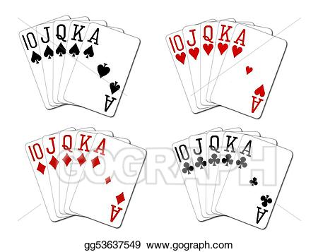 Royal flush diamonds clipart graphic black and white download Drawing - Royal flush set. Clipart Drawing gg53637549 - GoGraph graphic black and white download