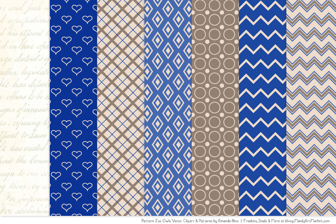 Royal pattern clipart vector free Pattern Zoo Vector Owls Clipart & Digital Papers in Royal ... vector free