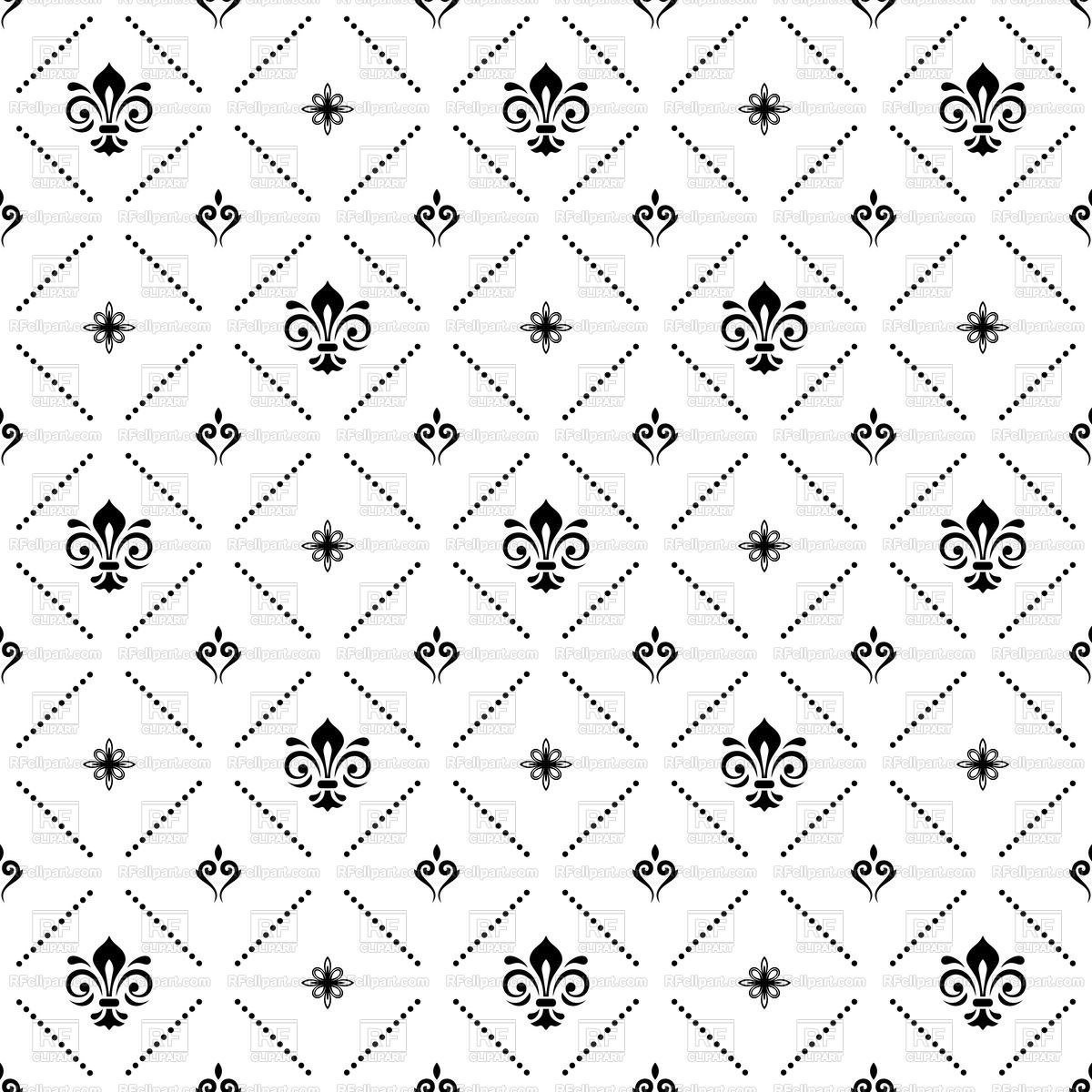 Royal pattern clipart vector download Seamless royal black and white pattern Vector Image – Vector ... vector download