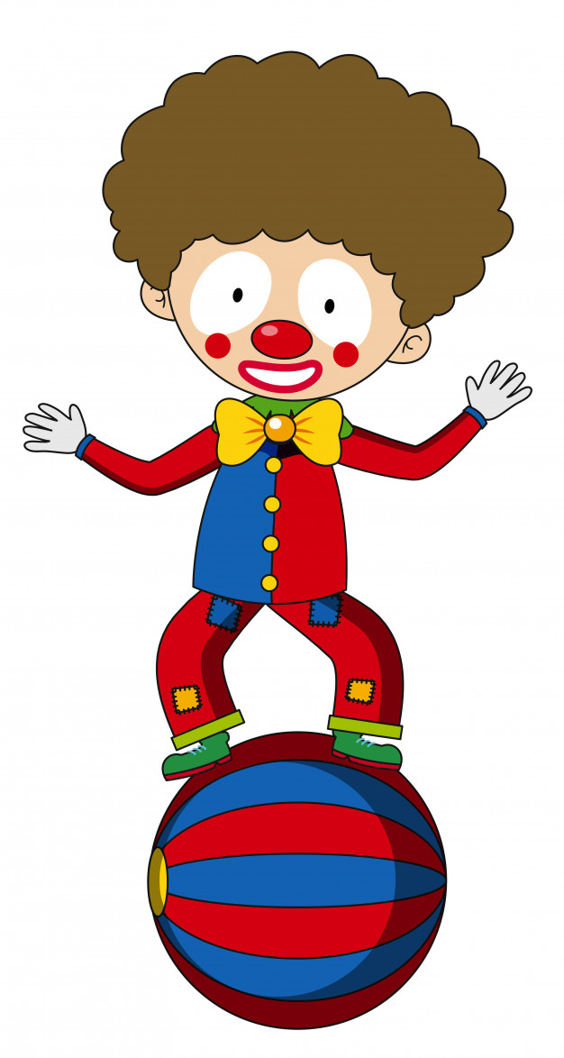 Royalmonster clipart clip freeuse Happy clown balancing on big ball Vector | Free Download clip freeuse