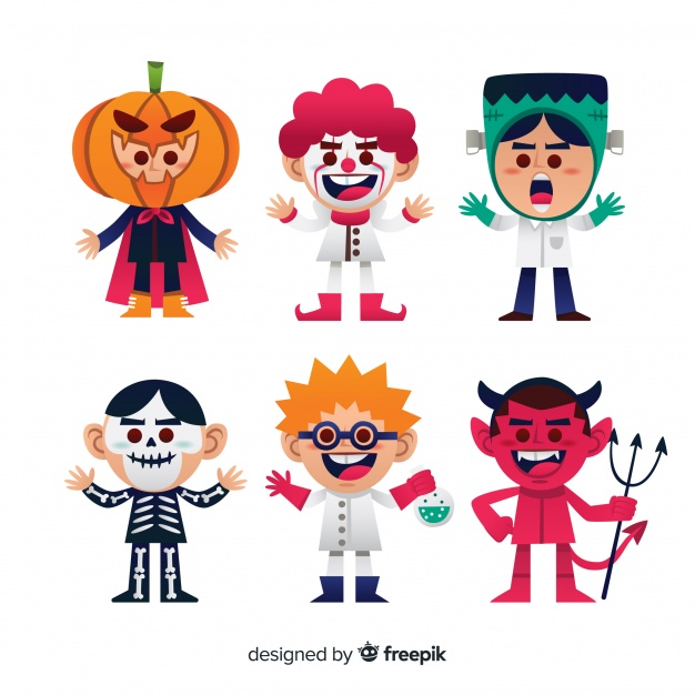 Royalmonster clipart clipart black and white download Lovely halloween character collection with flat design ... clipart black and white download