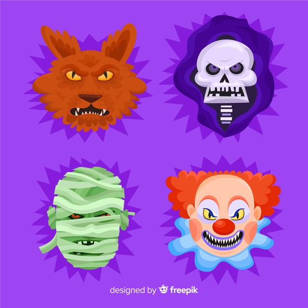 Royalmonster clipart clip free download Collection of halloween character in flat design Vector ... clip free download