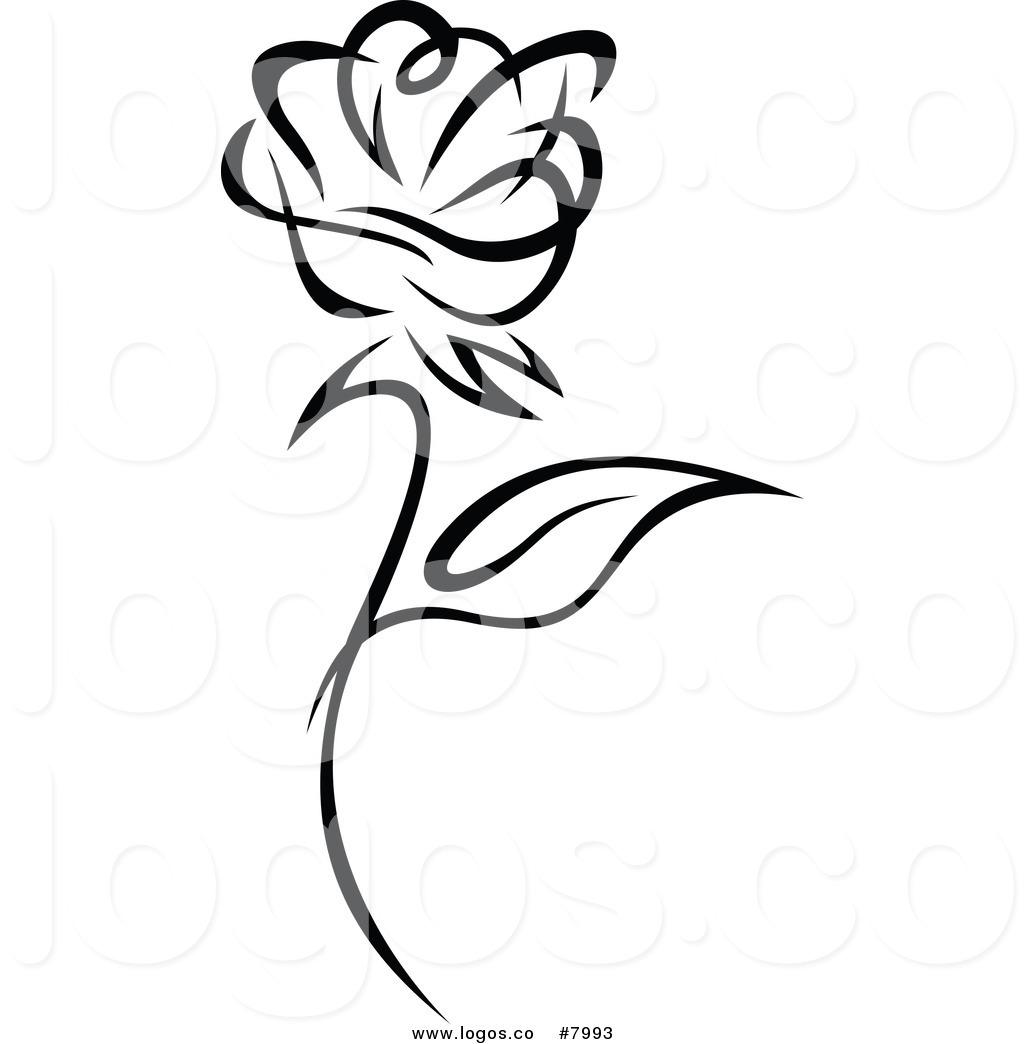Royalty free black and white clipart svg freeuse Royalty Free Clip Art Vector of a Black and White Rose Logo ... svg freeuse