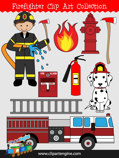 Royalty free clipart for commercial use svg royalty free stock Firefighter Clip Art Collection for Personal and Commercial Use svg royalty free stock