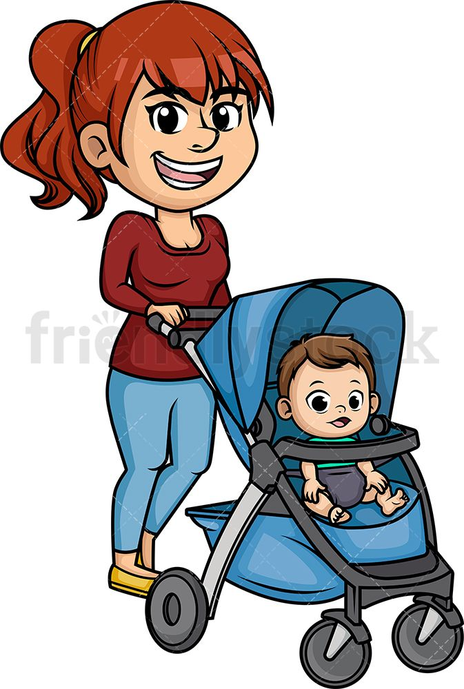 Royalty free clipart mother talking to baby graphic black and white library Mom Pushing Stroller | Vector Illustrations | Vector clipart ... graphic black and white library