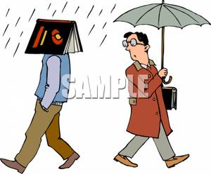 Royalty free clipart walking in the rain transparent library A Colorful Cartoon of a Man Walking In the Rain with a Book ... transparent library