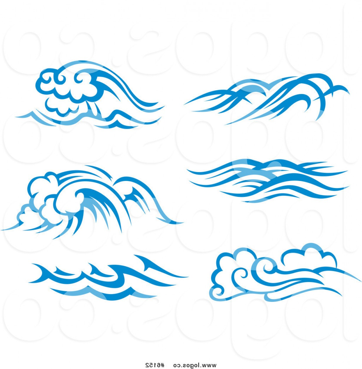 Royalty free clipart waves png free Royalty Free Clip Art Vector Logos Of Blue And White Ocean ... png free