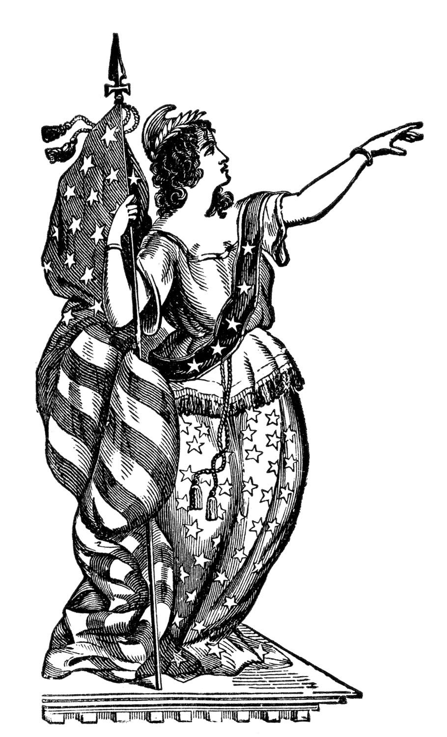 Royalty free patriot clipart black and white banner stock 8 Pictures of Lady Liberty!   Ephemera - Patriotic ... banner stock