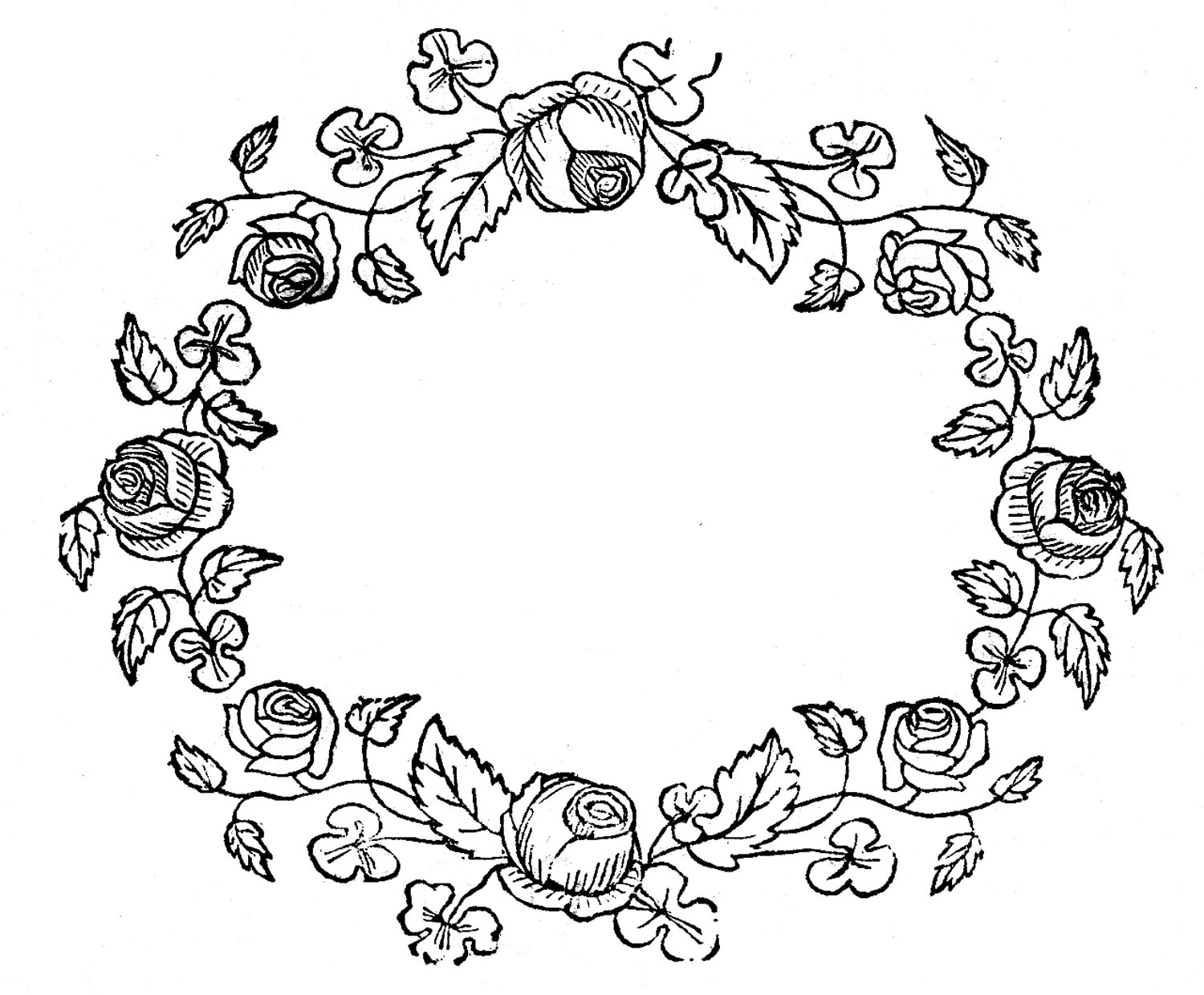 Royalty free wreath clipart black and white clip transparent Royalty Free Images - Rose Wreaths - Embroidery Pattern ... clip transparent