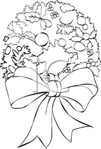Royalty free wreath clipart black and white clip art free library Black and White Cartoon of a Christmas Wreath with Leaves ... clip art free library