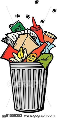 Rubbish bin clipart clipart royalty free library Vector Illustration - Full rubbish bin (garbage can). Stock ... clipart royalty free library