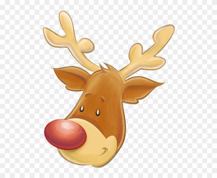Rudolph head clipart clip transparent stock Christmas, Reindeer, Head, Smiling, Rudolph, Santa ... clip transparent stock