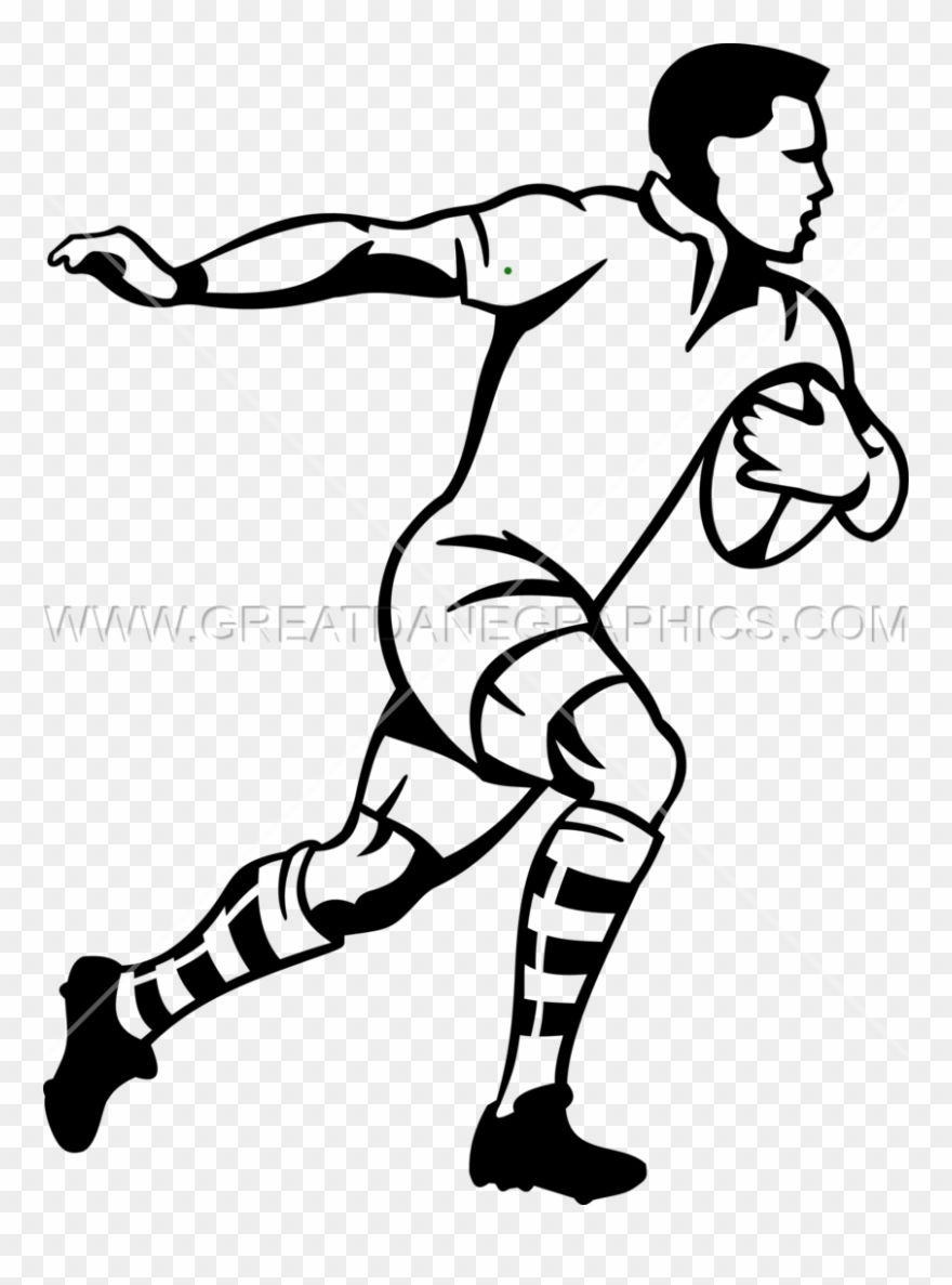 Rugby clipart black and white png royalty free download Collection Of Rugby Black And White - Rugby Player Line ... png royalty free download