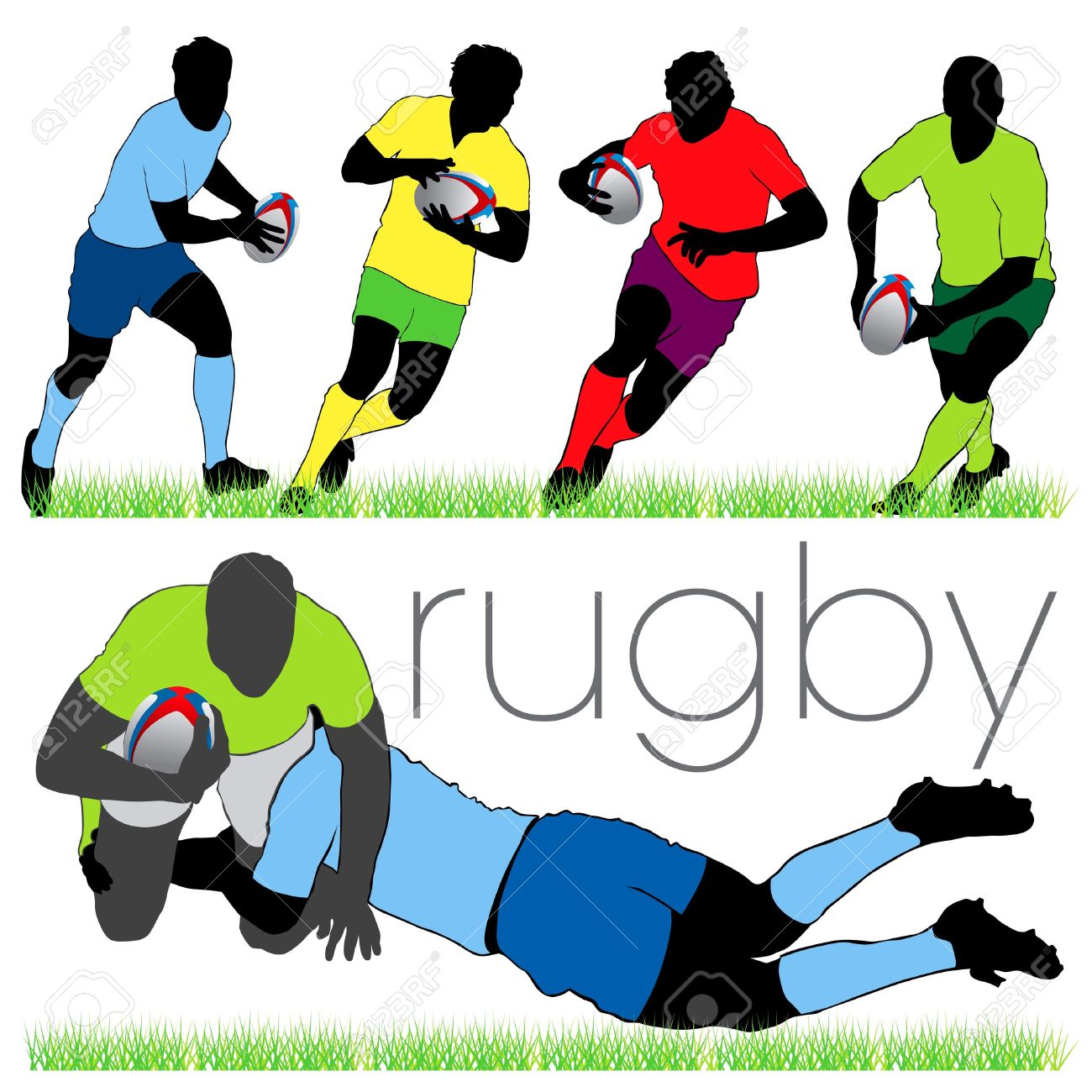 Rugby scrum clipart picture freeuse Rugby Players Silhouettes Set Royalty Free #53371 ... picture freeuse