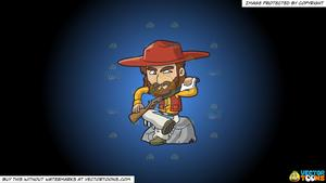 Rugged clipart banner royalty free download Clipart: A Rugged Cowboy Cleaning His Shotgun on a Blue And Black Gradient  Background banner royalty free download