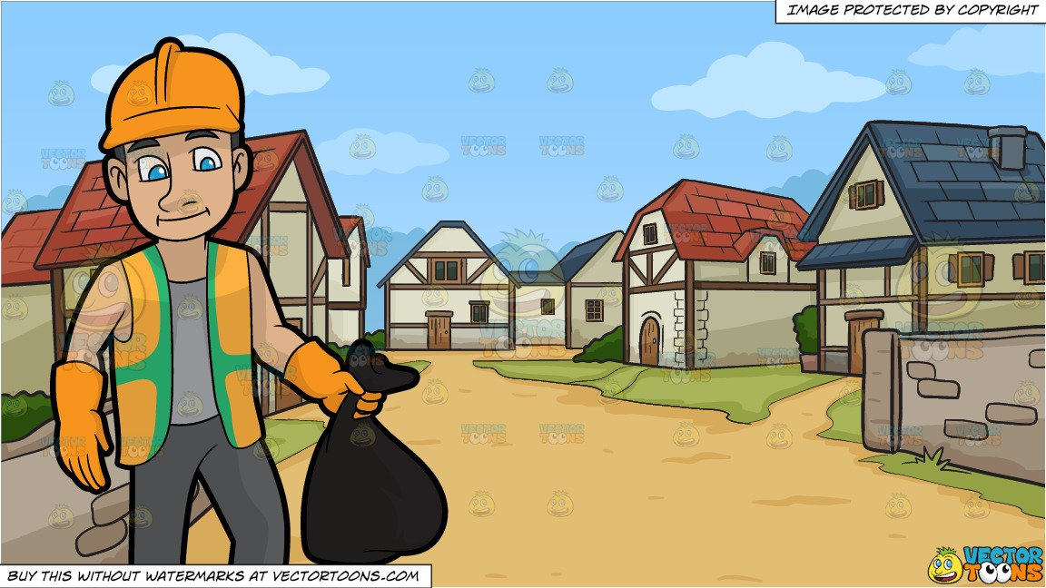 Rugged clipart clipart transparent download A Rugged Male Sanitation Worker and A Small Medieval Village Background clipart transparent download