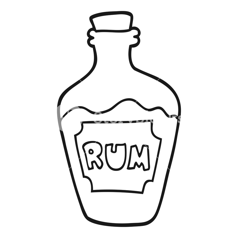 Rum bottle clipart images picture freehand drawn black and white cartoon rum bottle Royalty ... picture