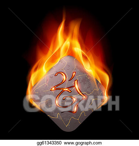 Runestone clipart clipart royalty free download Vector Illustration - Burning rune stone. EPS Clipart ... clipart royalty free download
