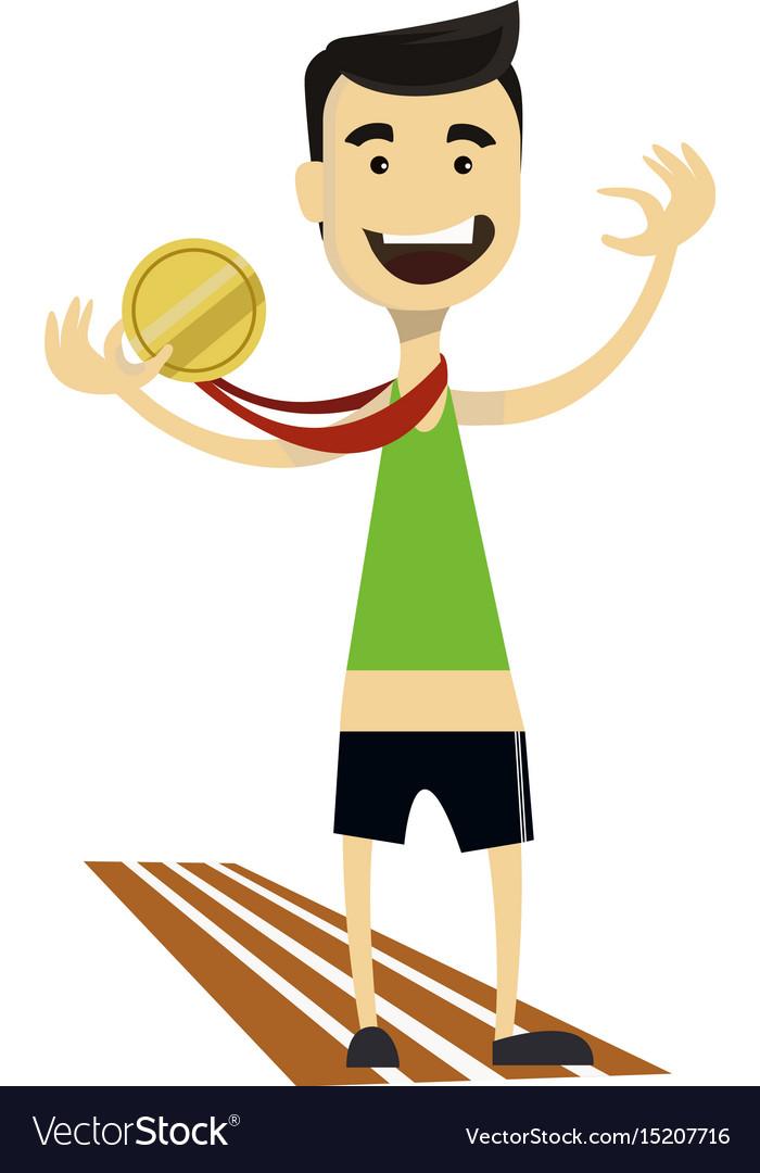 Runner gold medalist clipart vector library Runner wins and gets gold medal sporting vector library
